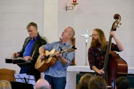 Mark Bishop, Kevin Bradley and Matt Nightingale performing in the Good Faith concert alongside the Combined Choir of Holy Cross Anglican and St Margaret's Uniting Churches in an afternoon of the choir's favourite songs—old, new, traditional and gospel. The choir previewed songs from their upcoming CD, 'Good Faith', and friends contributed other musical items.